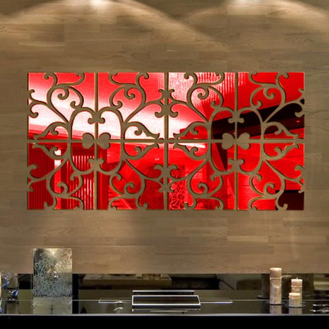 32pcs DIY 3D Acrylic Mirror Decal Mural Wall Sticker Home Decor Removable Red