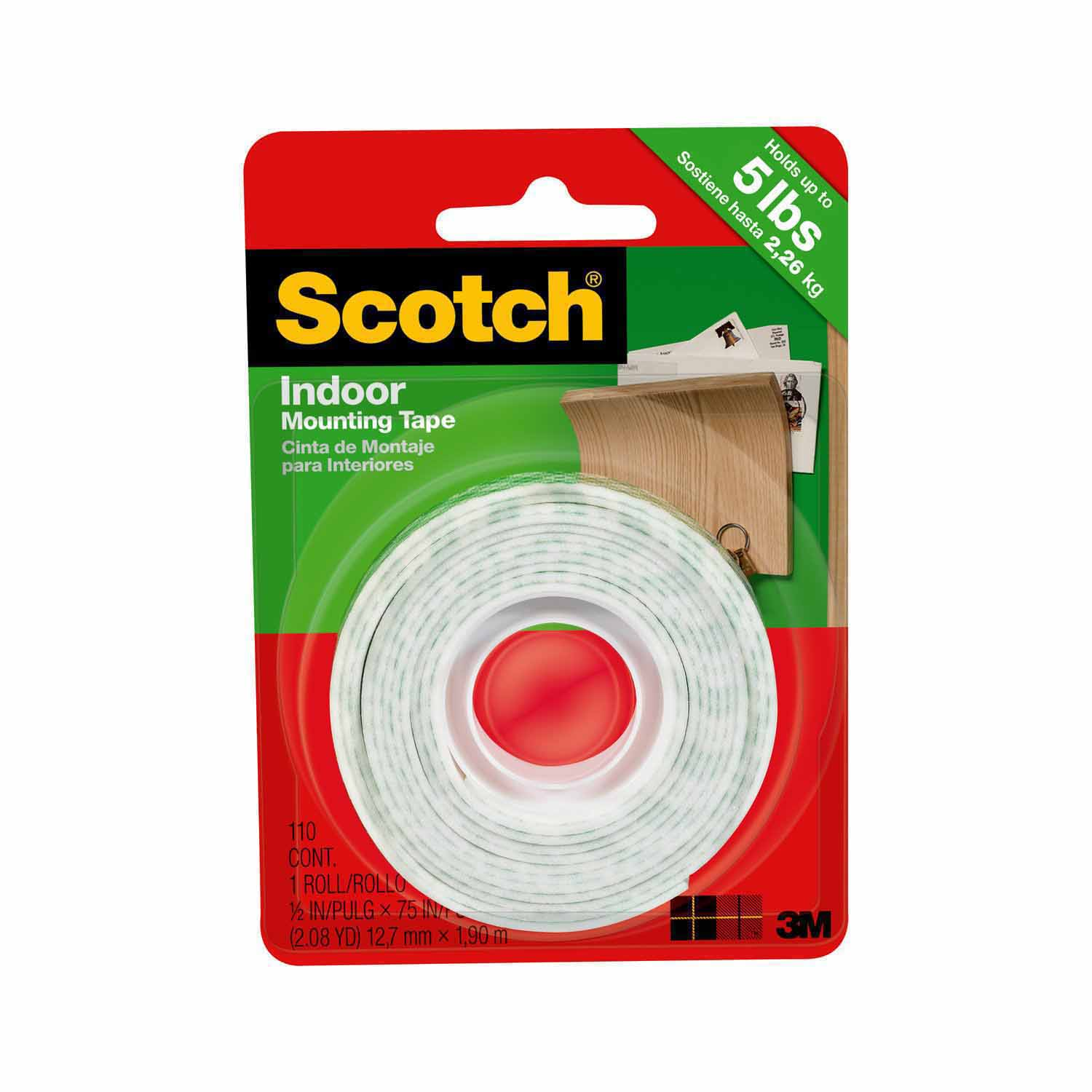 Scotch Indoor Mounting Tape, 0.5 in. x 75 in., White, 1 Roll/Pack
