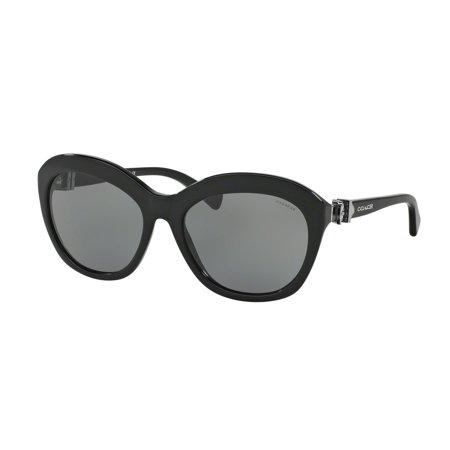 Coach 0HC8184 Sun Full Rim Cat Eye Womens Sunglasses - Size 57 (Black / Grey Blue Solid) ()