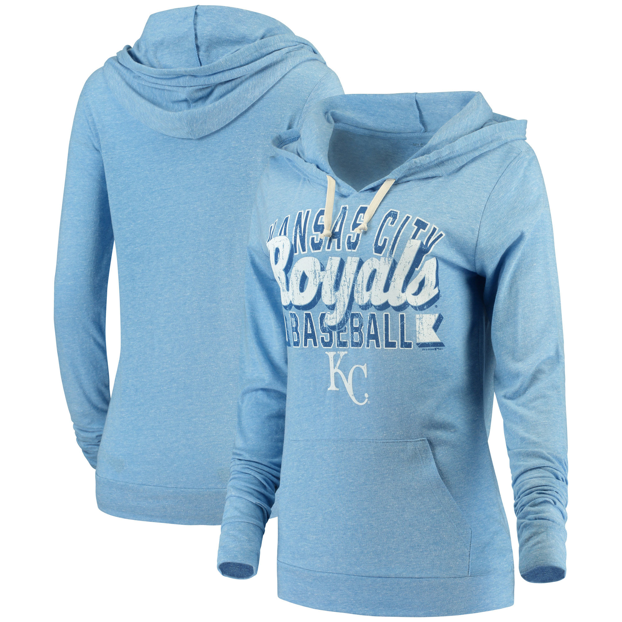 Kansas City Royals 5th & Ocean by New Era Women's Jersey Tri-Blend Pullover Hoodie - Royal