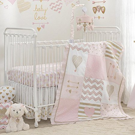 Lambs & Ivy Baby Love Pink/Gold Heart 4 Piece Crib Bedding Set