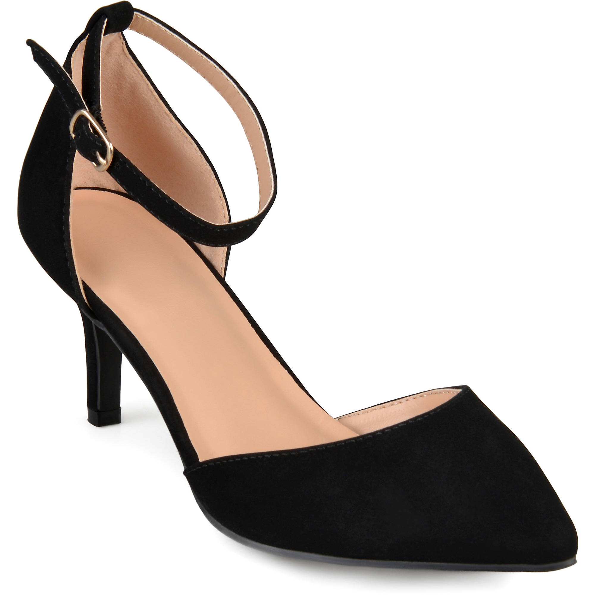 Brinley Co. Womens Ankle Strap Faux Suede Pumps
