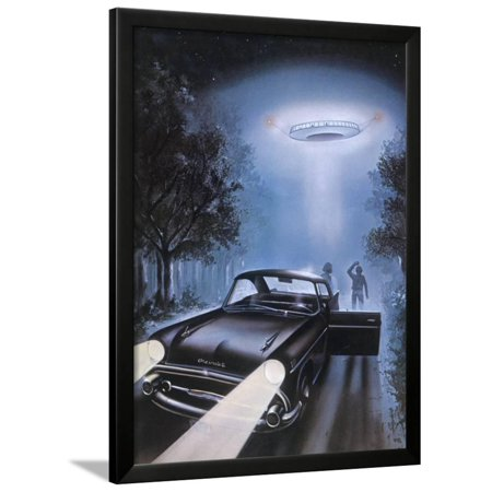 New Hampshire, Betty and Barney Hill Driving at Night See a UFO Framed Print Wall Art By Terry Hadler (Barney And Betty)