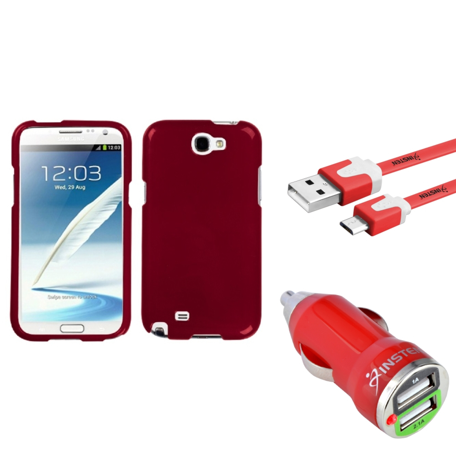 Insten Solid Red Hard Case Flat Cable Dual USB Charger For Samsung Galaxy Note 2 II