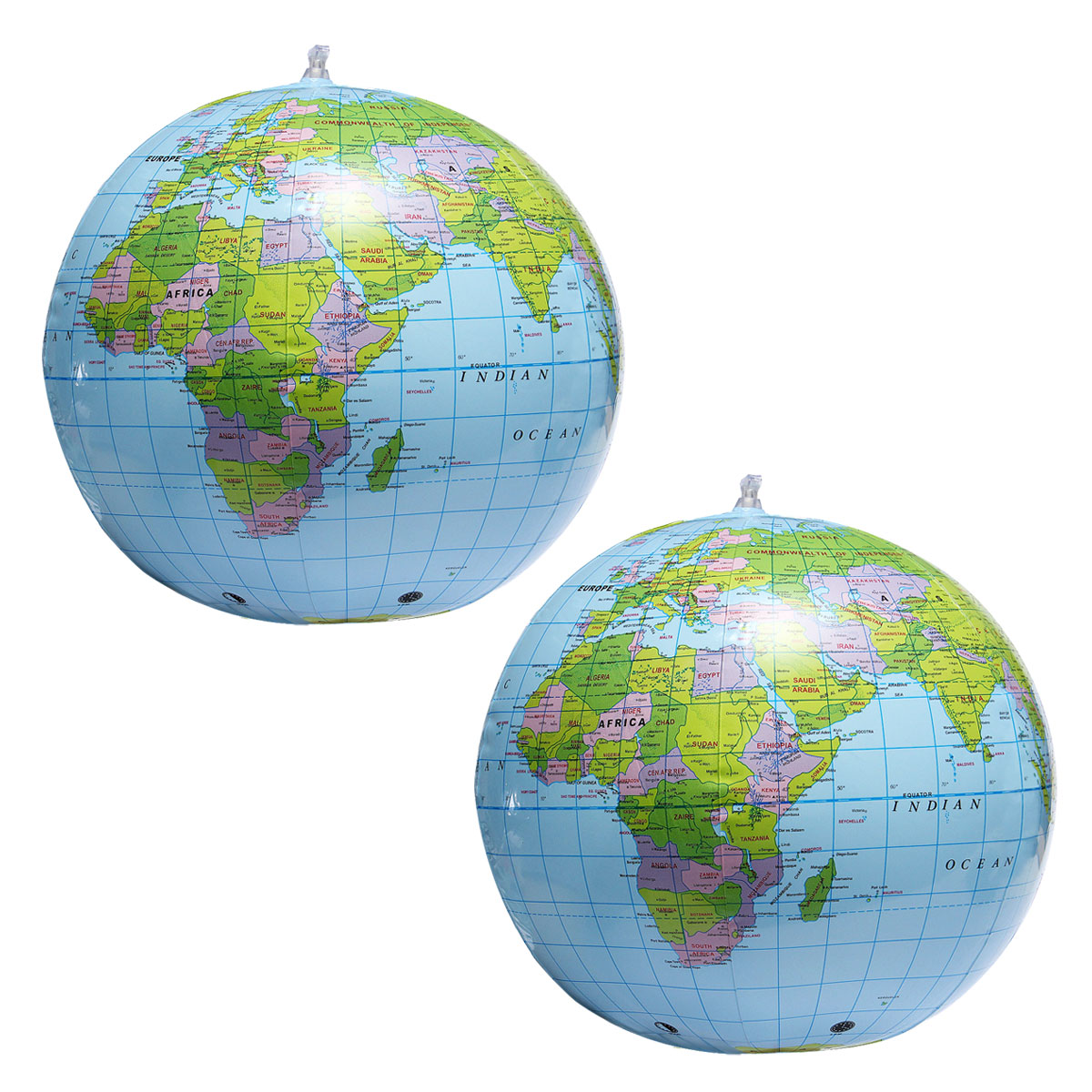 38cm Inflatable World Globe Earth Teaching Geography Map Beach Ball Kids Toy Antiques