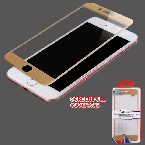 For iPhone 7 / 8 Plus Full Coverage Tempered Glass Screen Protector, Gold