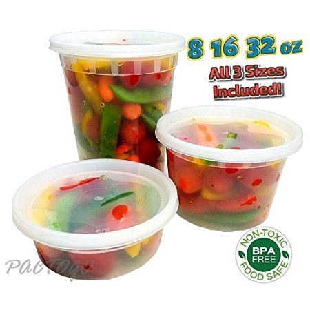 PCM 8 16 32 oz. Round Plastic Deli Soup Containers w/Lids Microwavable BPA Free (Pack of 24 Sets Each)