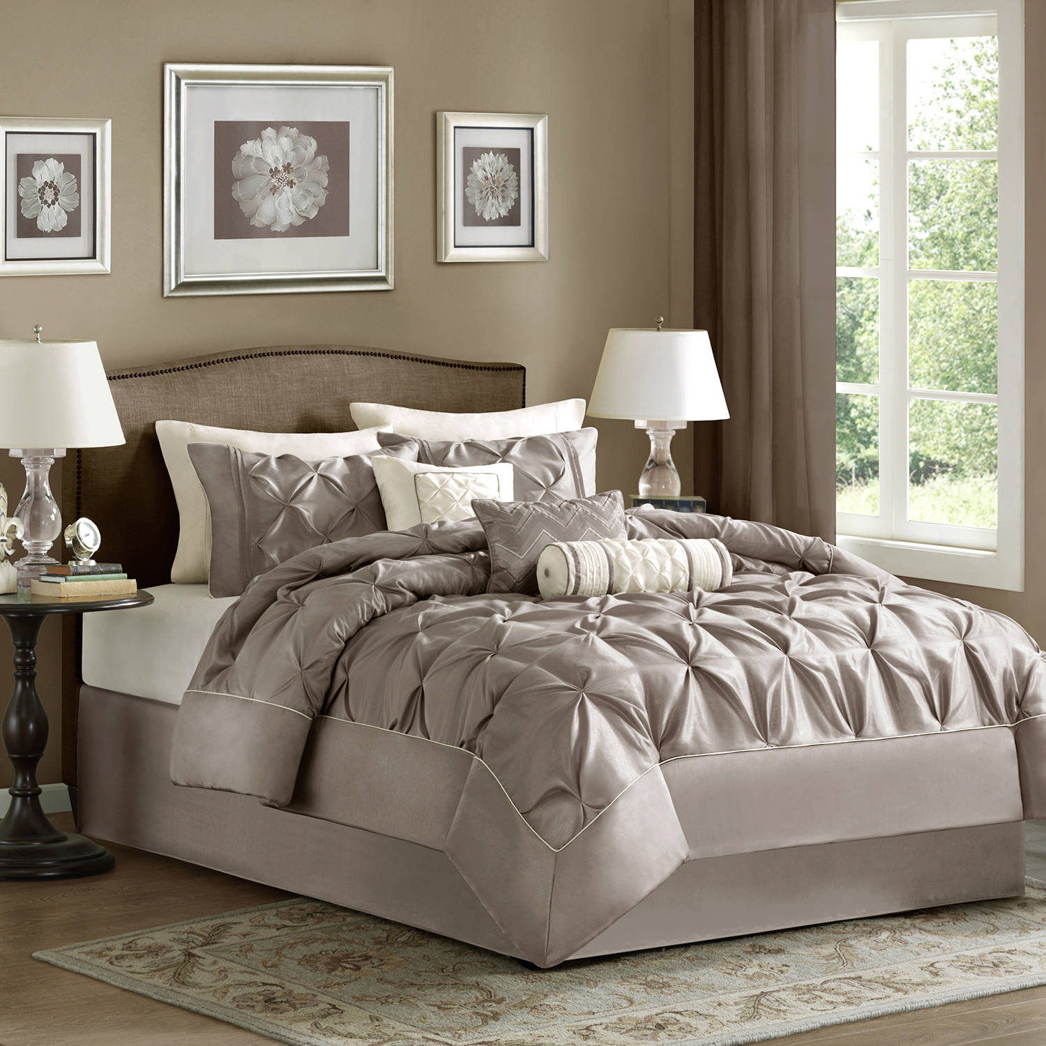 better homes and gardens 4pc solid damask reversible quilt bedding set walmartcom
