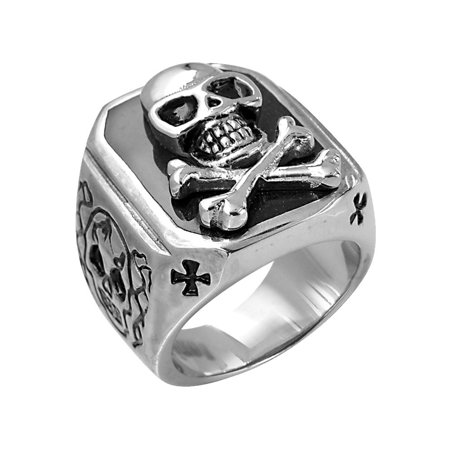 David Sigal Mens Skull Ring in Stainless - Mens Skull Rings