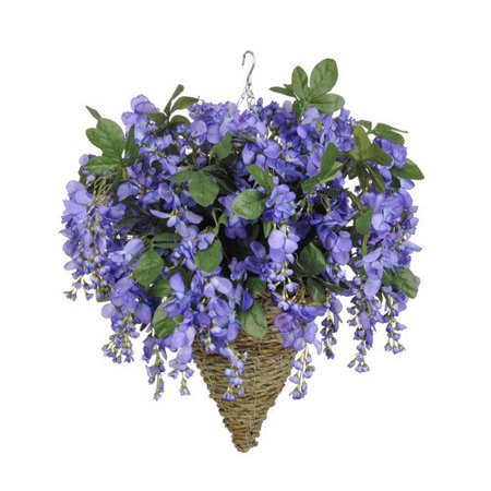 house of silk flowers inc artificial wisteria hanging plant in cone basket. Black Bedroom Furniture Sets. Home Design Ideas
