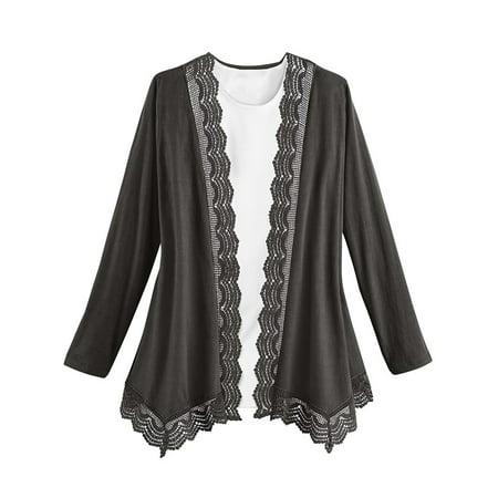 Collections Etc Women's Lace Trim Knit Cardigan BLACK LARGE Lace Cardigan Knit Pattern
