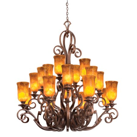 Chandeliers 20 Light Bulb Fixture With French Cream Finish Hand Forged Iron E26 Champagne Glass 51