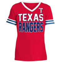 Texas Rangers 5th & Ocean by New Era Youth Jersey T-Shirt with Contrast Trim - Red