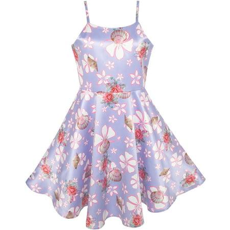 Sunny Fashion Girls Dress Purple Flower Shell Print Party Dancing Dress Size 4 10