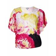 JM Collection Women's Floral Print Flutter Crepe Top