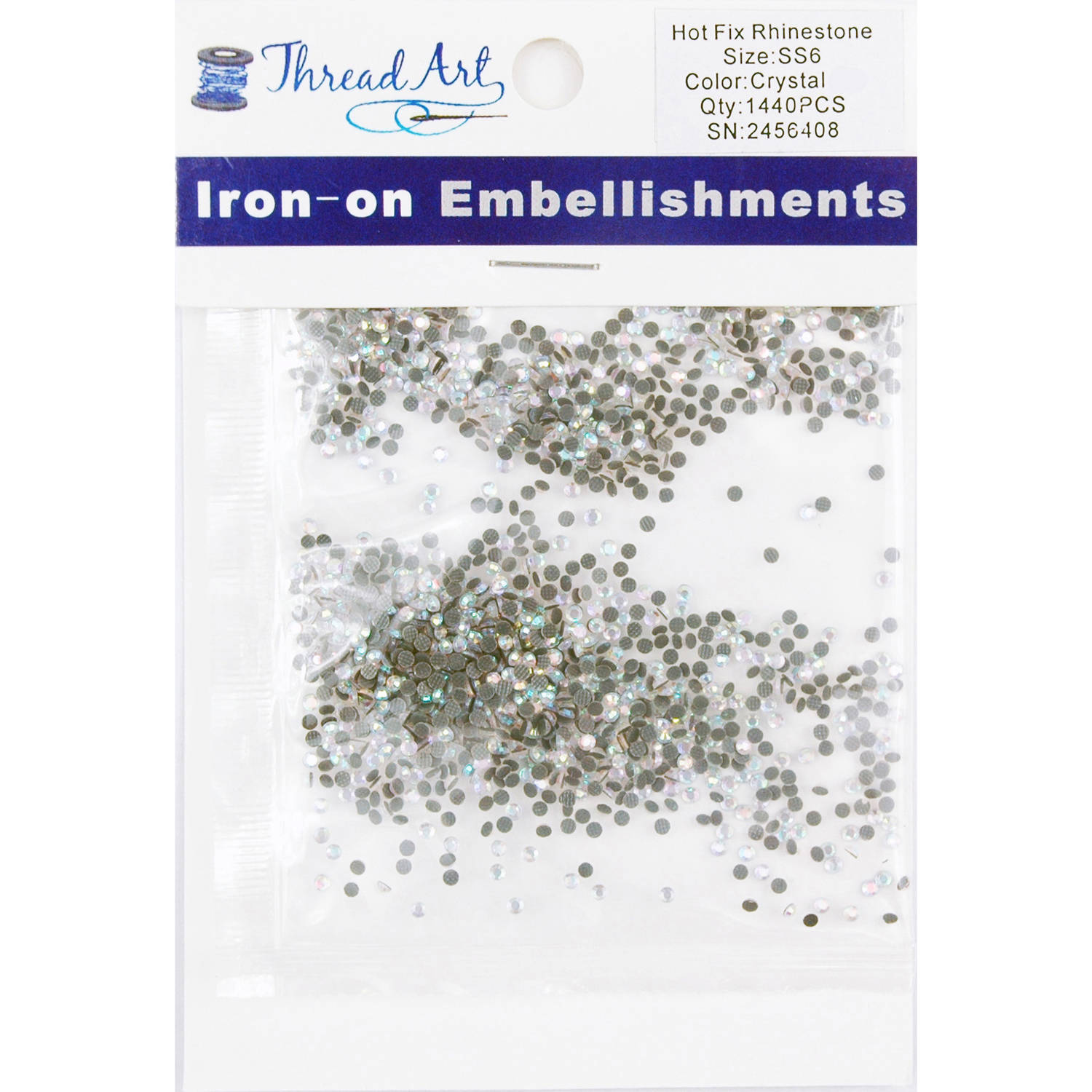 Threadart Hot Fix Rhinestones SS6 (2mm) 10 Gross (1440 stones/Package) Hotfix, 28 Colors Available