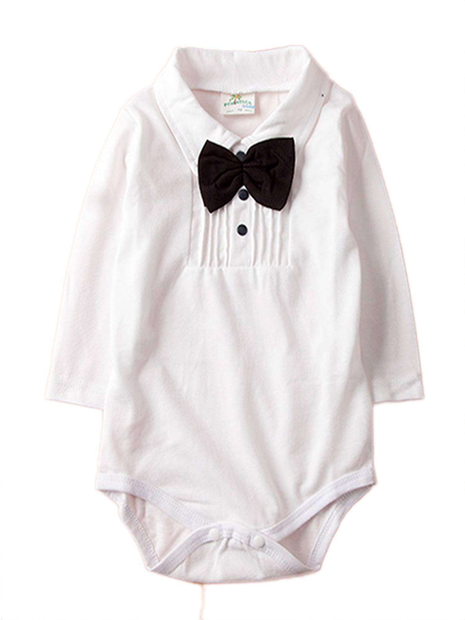 Stylesilove Long Sleeve Tuxedo Shirt Baby Boy Jumpsuit (3-6 Months, Navy Blue)