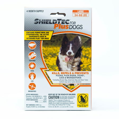 ShieldTec Plus Flea, Tick, and Mosquito prevention for Large Dogs, 34-66 lbs. 4 months protection
