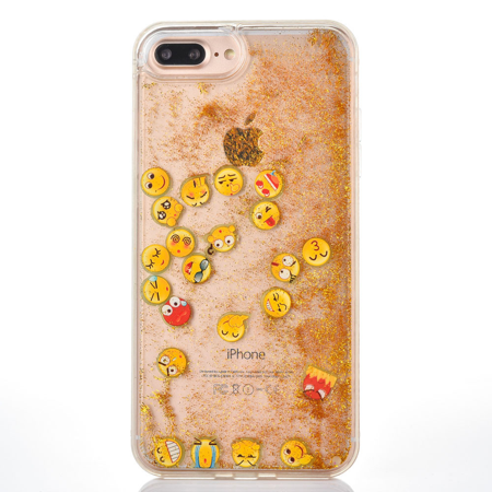 For iPhone 5 iPhone 5s iPhone SE Floating Emoji Faces Swim Liquid Waterfall Sparkle Glitter Quicksand Case