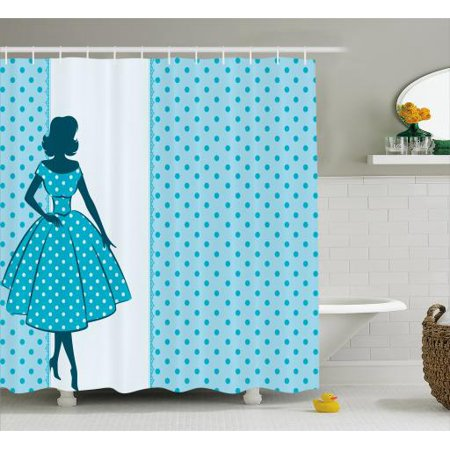 Vintage Woman Shower Curtain Silhouette 1950s Style Woman In Polka
