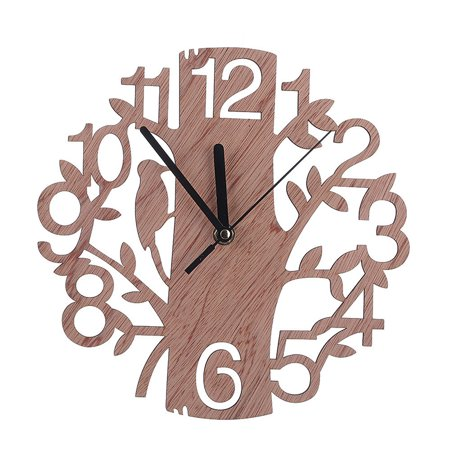 Tree Shape Wall Clock 3D Modern DIY Living Room Home Decor