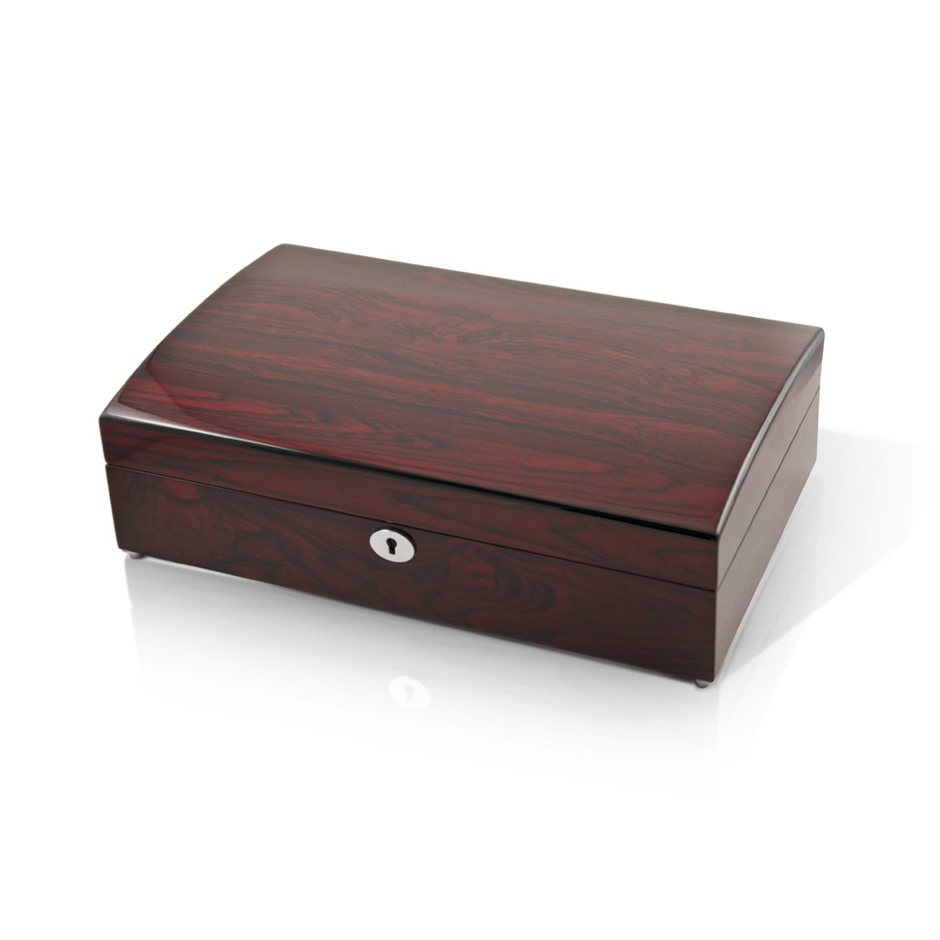 Elegant And Spacious Hi Gloss Rosewood 18 Note Music Jewelry Box - Silver Bells