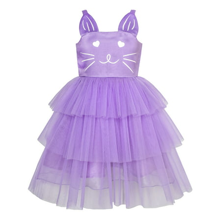 Girls Dress Cat Face Purple Tower Ruffle Dancing Party 10 Years