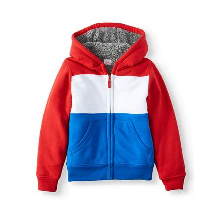Wonder Nation Full Zip Sherpa Lined Fleece Hoodie (Little Boys, Big Boys, & Husky)
