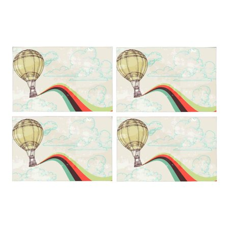 Mkhert Retro Vintage Hot Air Balloon With Rainbow Placemats Table