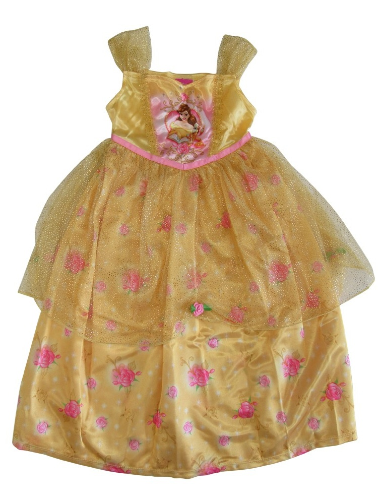 Girls Gold Roses Beauty Beast Sparkle Overlay Sleeveless Nightgown