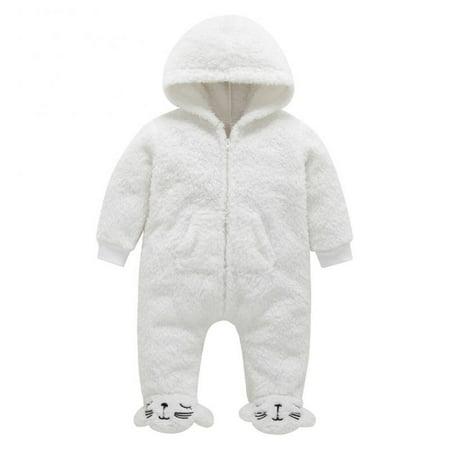 Baby Boys Girls Long Sleeve Fleece Bear Hoodie Romper Warm Animal Jumpsuit Costume 0-3M