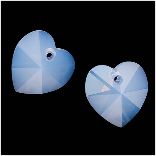 Swarovski Crystal, #6202 Heart Pendants 14mm, 2 Pieces, Air Blue Opal