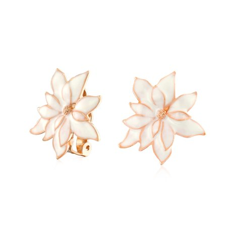 Cream Off White Water Lily Flower Clip On Earrings For Women Non Pierced Ears Rose Gold Plated Brass (Rose Gold Settings)