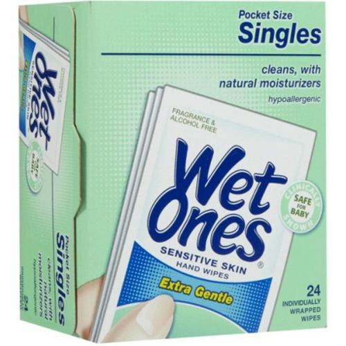 WET ONES Sensitive Skin Hand & Face Wipes, Singles, Fragrance Free  24 ea (Pack of 6)