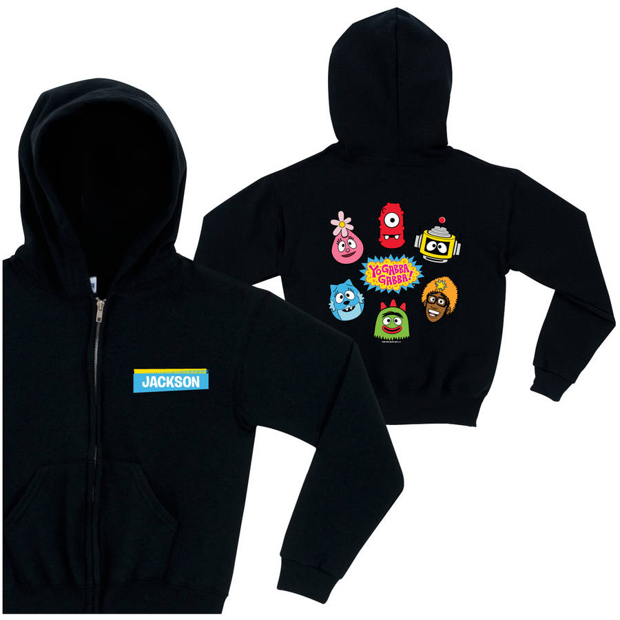 Personalized Yo Gabba Gabba Circle of Friends Toddler Zip-Up Hoodie, Black