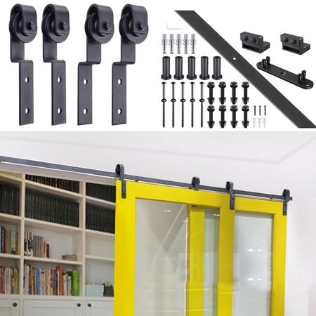 Bypass Track - 6.6' Steel Sliding Door Hardware Roller Track Kit for Wood & Concrete Wall