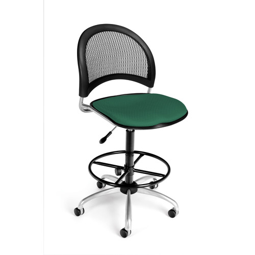 OFM 336-AA3-DK-2221 Moon Swivel Chair with Arms and Drafting Kit, Forest Green