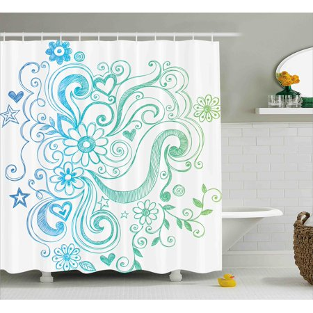 Flowers Shower Curtain Rainbow Colored Ombre Sketch Design With Florals Blossom Ivy Leaves Fabric