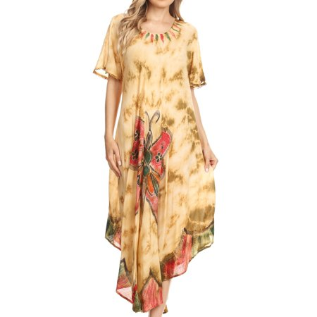 - Sakkas Nalani Womens Flowy Caftan Tie Dye Summer Dress Cover up Relax Fit - Beige - One Size Regular