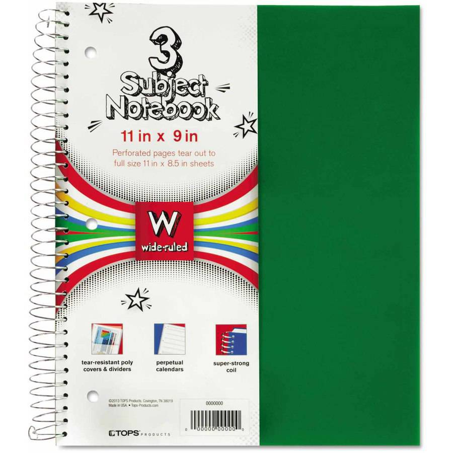"TOPS One-Subject, Poly Notebook, 8"" x 11"", , College Rule, Assorted, 70 Sheets"