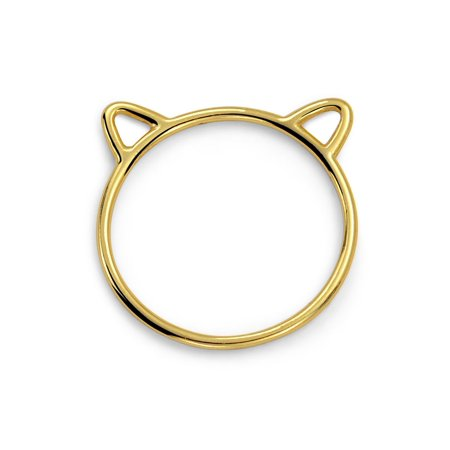 Gold Plated Cat Ears Kitty Silhouette 925 Silver Midi Ring