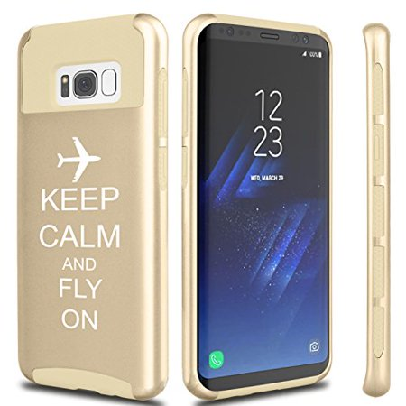 Gold Airplane (For Samsung Galaxy Shockproof Impact Hard Soft Case Cover Keep Calm And Fly On Airplane (Gold For Samsung Galaxy S8))