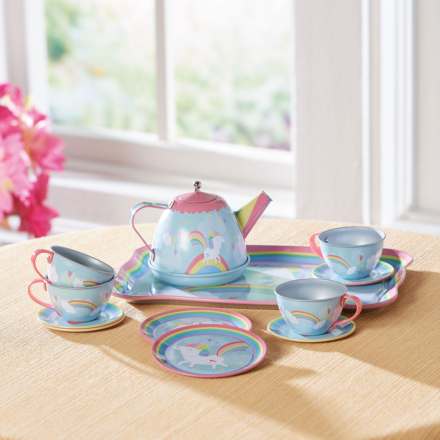 Childs Tea Set Play Toy Plastic Childrens Dishes 25 pieces