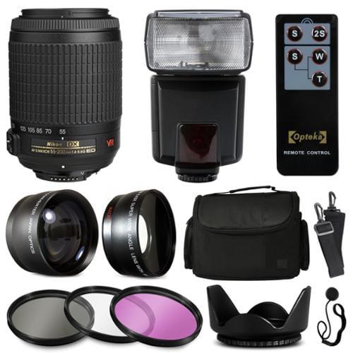 Nikon VR 55-200mm Lens 2166 + Accessories Bundle with 2.2x & 0.43x Adapters + Flash + Case + Filters for Nikon DF D7200 D7100 D7000 D5500 D5300 D5200 D5100 D5000 D3300 D3200 D3100 D3000 D300S D90