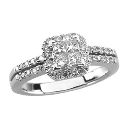 Stuller 66707 101 P 14K White Cluster Engagement Ring