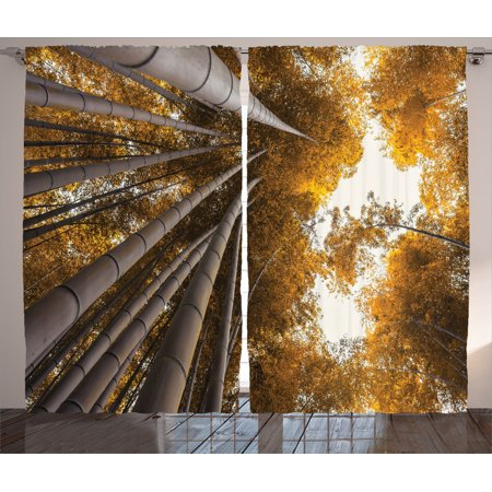 Bamboo House Decor Curtains 2 Panels Set, Bottom To Top Bamboo Grove Fall Landscape Potential For Improvement Symbol Print, Living Room Bedroom Accessories, By Ambesonne ()