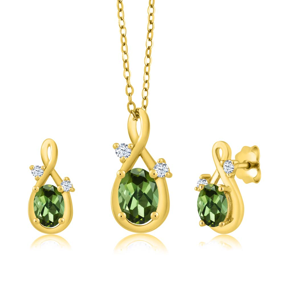 1.79 Ct Oval Green Tourmaline 18K Yellow Gold Pendant Earrings Set by