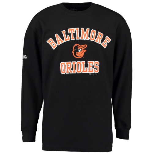 Baltimore Orioles Stitches Wordmark Thermal Long Sleeve T-Shirt - Black