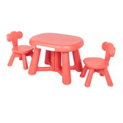 """Table and Chair Set for Kids, 25.6"""" x 20.47"""" x 18"""" Solid Kids Table and 2 Chairs Set, Little Kid Sturdy Furniture Table and 2 Chair Set for Toddlers Play Lego, Reading, Art Play-Room, Coral, S5915"""
