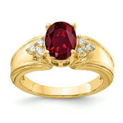 Primal Gold 14 Karat Yellow Gold 8x6mm Oval Created Ruby and Diamond Ring